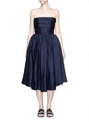 Ms Min Gathered Cotton Silk Strapless Cocktail Dress Blue
