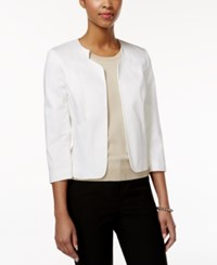 Tahari By Arthur S. Levine Tahari Asl Three Quarter Sleeve Open Front Jacket White