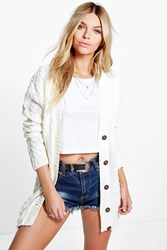 Boohoo Cable Knit Cardigan Cream