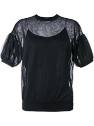 Le Ciel Bleu Semi Sheer Balloon Sleeve Blouse Black