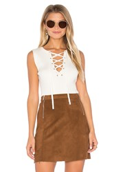 1.State Sleeveless Lace Up Sweater Ivory