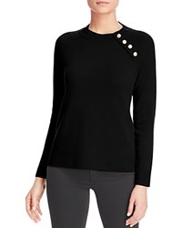 Bloomingdale's C By Button Detail Cashmere Sweater Black