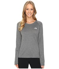 The North Face Long Sleeve Lfc Reaxion Amp Tee Tnf Medium Grey Heather Tnf White Women's Long Sleeve Pullover Gray
