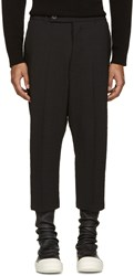 Rick Owens Black Textured Cropped Astaires Trousers