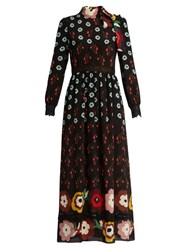 Red Valentino Floral Print Lace Insert Silk Maxi Dress Black Multi