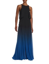 Halston Silk Ombre Gown Blue Ombre