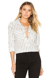 Equipment Knox Lace Up Blouse Black And White