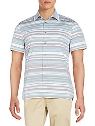Perry Ellis Striped Cotton Short Sleeve Shirt Eclipse