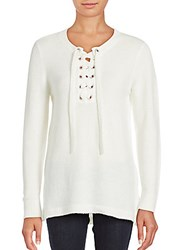 Kensie Solid Lace Front Sweater Light Grey