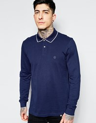Pretty Green Polo In Pique With Long Sleeves In Navy Navy Blue