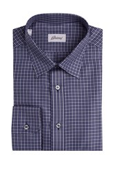 Brioni Printed Cotton Shirt Blue