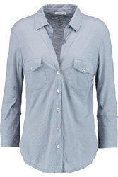 James Perse Stretch Cotton Jersey Shirt Sky Blue