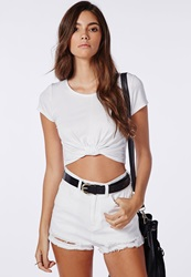 Missguided Capped Sleeve Knot Crop Top White White