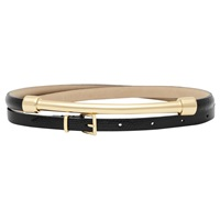 Reiss Leather Metal Front Belt Black