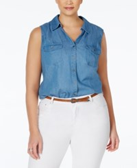 Styleandco. Style And Co. Plus Size Denim Sleeveless Blouse Only At Macy's Sun Wash