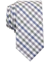Bar Iii Men's Olive Heather Multicolor Gingham Skinny Tie Only At Macy's