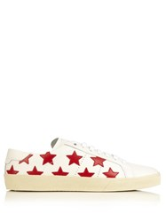 Saint Laurent Star Embellished Leather Trainers Red White