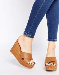 Park Lane Wedge Leather Mules Tan