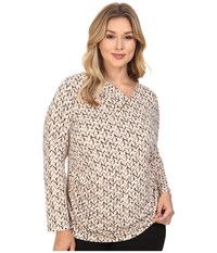 Calvin Klein Plus Size Printed V Neck W Bar Hardware Top Black Blush Multi Women's Long Sleeve Pullover