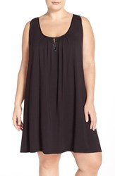 Plus Size Women's Midnight By Carole Hochman 'Core' Short Nightgown Black