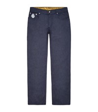 Billionaire Embroidered Logo Format Fit Jeans Male Blue