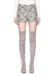 Alice Olivia 'Marisa' Metallic Floral Embroidered Shorts Metallic Multi Colour
