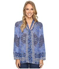 Lucky Brand Tie Neck Blouse Blue Multi Women's Blouse