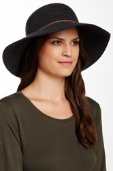 Phenix Round Crown Floppy Wool And Leather Hat Gray