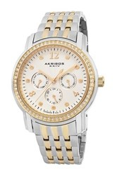 Akribos Xxiv Women's Multifunction Diamond Dial Stainless Steel Watch Metallic