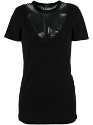 Twin Set Lace Panel T Shirt Black