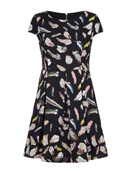 Mela Loves London Feather Print Skater Dress Black