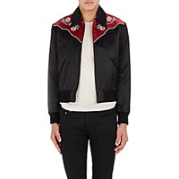 Saint Laurent Men's Embroidered Western Style Zip Front Jacket Black Burgundy No Color Black Burgundy No Color
