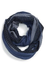 Junior Women's Bp. Stripe Open Weave Infinity Scarf Blue Navy Green