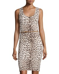 Carmen Carmen Marc Valvo Sleeveless Leopard Print Belted Sheath Dress Women's