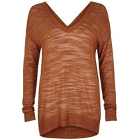 River Island Womens Rust Brown Slouchy Knit V Neck Jumper