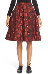 Comme Des Garcons Women's Tiered Floral Jacquard Skirt