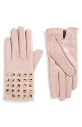 Valentino Women's Rockstud Leather Gloves Stone