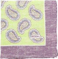 Roda Paisley Pocket Square Green