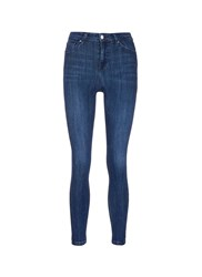Topshop 'Jamie' High Rise Whiskered Skinny Jeans Blue