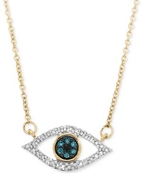 Wrapped In Love Diamond Evil Eye Pendant Necklace 1 6 Ct. T.W. In 10K Gold Only At Macy's Yellow Gold