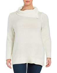 Lord And Taylor Plus Split Neckline Long Sleeve Sweater Ivory