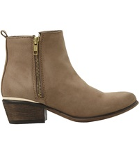 Steve Madden Side Zip Leather Ankle Boots Stone Leather