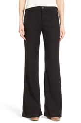 Nydj 'Claire' Linen Blend Wide Leg Trousers Regular And Petite Black