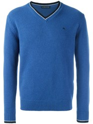 Etro Contrast Trim V Neck Sweater Blue