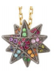 Noor Fares Geometry 101 Rainbow Merkaba Pendant In Yellow Black Gold And Various Coloured Stones 75Cm Chain Multi