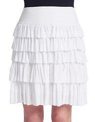 Context Flared Linen Blend Skirt White