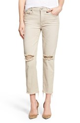 Women's 7 For All Mankind Raw Hem Ankle Straight Leg Jeans White Sand