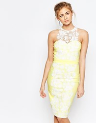 Paper Dolls Sweetheart Pencil Dress With Premium Lace Panel Yellow White