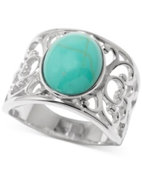 Macy's Manufactured Turquoise Filigree Ring In Sterling Silver 2 1 2 Ct. T.W. No Color