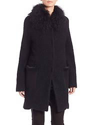 Elie Tahari Vallory Curly Faux Fur Coat Black